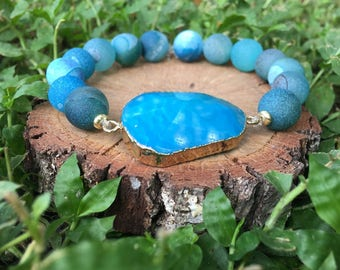 Blue Druzy(10mm) and Blue Quartz Beaded Bracelet - Blue Druzy Bracelet - Druzy Jewelry - Blue Quartz Bracelet - Oliver Grey Jewelry