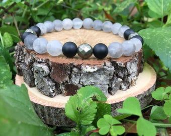 Men's Tucker Bracelet- Cloudy Quartz(8mm) - handmade- beaded bracelet-oliver grey jewelry- Denver collection-  guys accessories