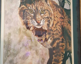 Bobcat by W. Griffith, watercolor framed