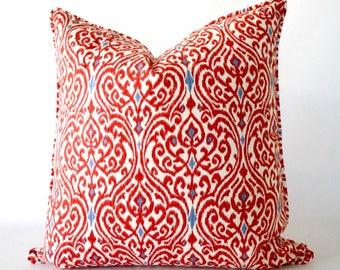 Red 24x24 pillow, red Ikat pillow, Ikat pillow with trim, red pillow, pillow with trim, throw pillows with trim, cushion, decorative pillows