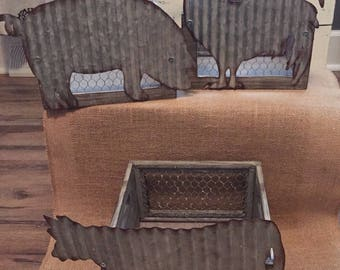 Farmhouse baskets,chicken basket,pig basket,cow basket, rustic
