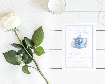 Tea For Two Invitation, Tea Party, Tea Party Invitation, Birthday Invitation, Invitation, Watercolor Tea Party Invite, Tea for 2, Tea Party