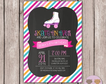 PRINTABLE- Skate Birthday Party Invite- Roller Skate Birthday Invite- Roller Skating Birthday Invite- Birthday Invite- 5x7 JPG