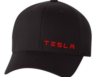 TESLA MOTOR Electric  Car Flex Fit Hat CURVED *Free Shipping in Box*