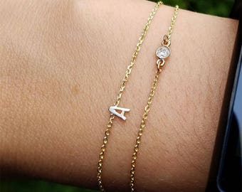 Mother's day gift,Letter bracelet with Diamonds, 10k initial bracelets,Solid gold letter bracelets,Women diamond bracelets.