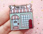 Post Office Lapel Pin, Enamel Pin, Pin Street, Happy mail, Gold metal, Hard enamel, brooche, snail mail, little lefty lou