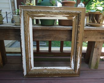 Antique Large Ornate Picture Frame Gesso Naturally Age Distressed Primitive