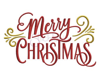 Merry Christmas Embroidery Design #2 - 6 Sizes 10 Formats PES Machine Embroidery Designs Christmas Embroidery Designs Instant Download Files