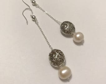 Sterling silver chain dangling freshwater pearls earrings handmade with silver beads and sterling silver wire