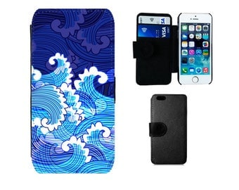 Ocean Wallet case iPhone 8 7 6S 6 Plus, SE 5S 5C X 5 4S, Samsung Galaxy S7 S6 Edge, S8 Plus, S4 S5 Mini, Surf waves phone flip case. F354