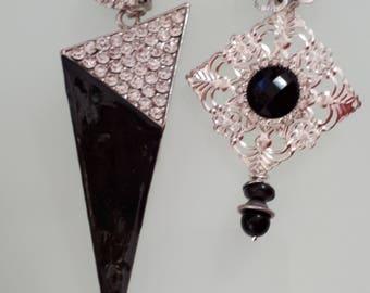 asymmetric black and Silver earrings
