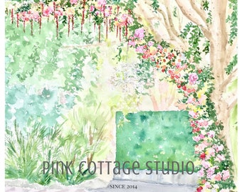 Custom wedding venue portrait, Vow art, Wedding portrait in watercolor, Personalized portrait gift, Custom wedding portrait