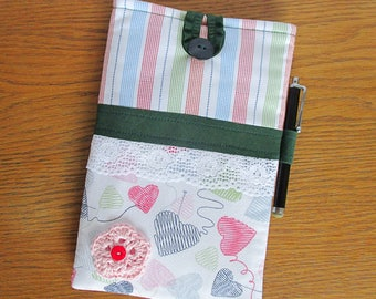 Handmade kindle case, kindle paperwhite case, kindle sleeve, kindle fire case, kindle accessories, knit and hearts design Tilda