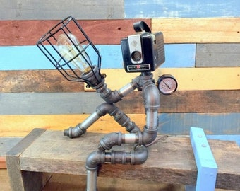 10% OFF Robot Lamp, Pipe Lamp, Industrial Decor, Steampunk Lighting, Pipe Decor, Man Cave, Junk Style, clever RAVEN, Pipe Lighting, Industri