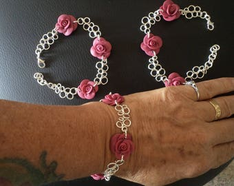 Silver decorated with roses in resin bracelet handmade