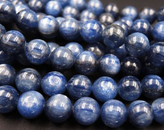 "Natural Blue Kyanite A Grade 10mm Polished Finish Round Beads 16"" Strand"