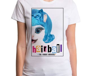 Hairball Women's T-Shirt (GT8731-502WHT) musical, hairspray, funny cat t-shirts, funny tees, cats, kitty cat, cute cat, cat lover