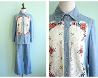 Vintage 1970's Embroidered Denim Shirt and Pant Set | Size Small