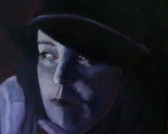 Pensive, an oil painting