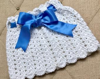 12-18 Month Skirt - Handmade Crochet Skirt for Little Girl 12-18 months - White with Blue Ribbon - Item G2