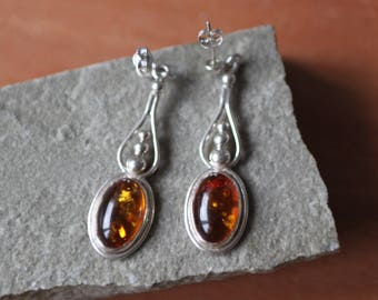 Wonderful Silver And Amber Drop Earrings   SKU1312