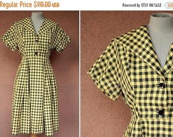 SUMMER SALE 1950's Vichy Print Silk Dress - 1950's Fitted Waist Summer Dress