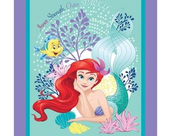 Disney Little Mermaid Fabric Panel Ariel Large Wallhanging Throw Lap Quilt Panels