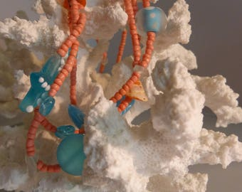 Inspired by the sea peach and aqua 22 inch necklace