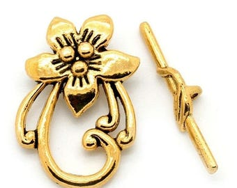 ON SALE Toggle Clasp, Flower Design, Antique Gold Finish, (CLP-T-G-4), 4 sets