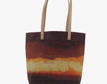 Medium Waxed Canvas Tote - Rust/Orange - Leather Strap