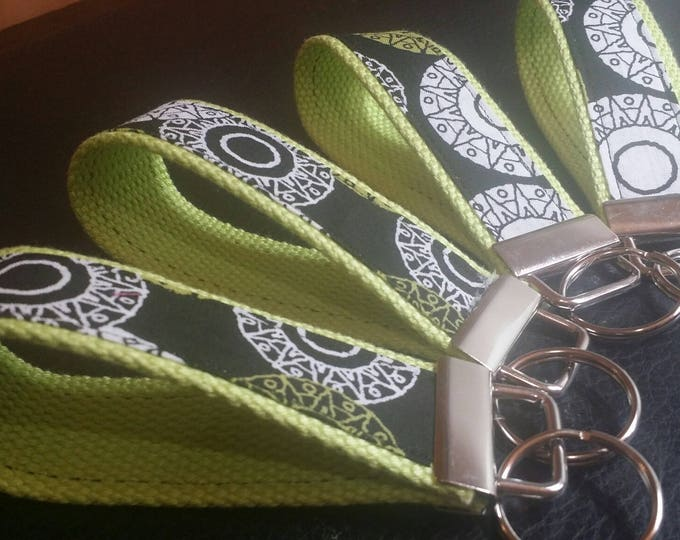 Key Chains-Key Rings-Key Fobs-Lime Green n' White Circles n' Green Webbing