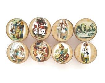 SUMMER SALE Vintage Alice in Wonderland Set of 8 Knobs