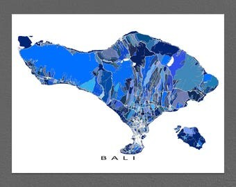Bali Map Print, Bali Art, Southeast Asia, Indonesia