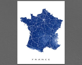 France Map Art, France Print, Europe Country Maps, Paris