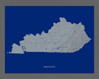 Kentucky Map, Kentucky Wall Art, KY State Art Print, Landscape, Navy Blue