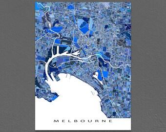 Melbourne Australia, Melbourne Map Poster, Blue City Map Art Print
