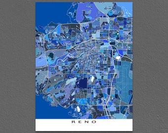Reno Map Print, Reno Nevada Map Art, USA City Street Maps