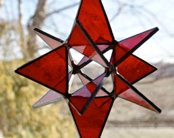 Stained Glass Moravian Star Ornament or Sun Catcher