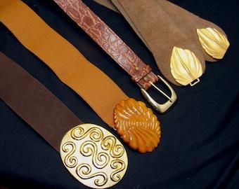 Vintage belt lot-brown stretch leather ornate-1980's belts collection