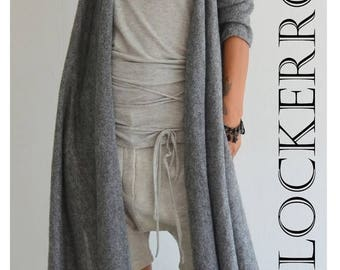 ON SALE Grey wool cardigan / Knit warm vest / Long sleeves cardigan /Wool Long top