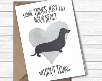 Dachshund, Sausage Dog card, Dachshund greetings card, dog card