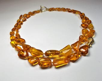 Amber necklace double row