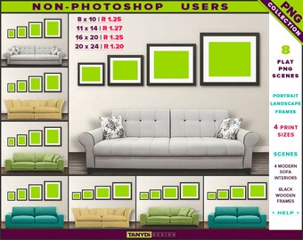 Wall Display Guide | 4 Print Sizes | Non-Photoshop | 8 PNG White Yellow Sofa Interior Scenes | Portrait & Landscape Black wooden frames