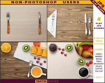 Desktop Table Styling | Styled JPG Scenes DT-2 | Non-Photoshop | Fabric Marble Wood Table | Breakfast Fruits Cutlery | Tea Coffee Cup