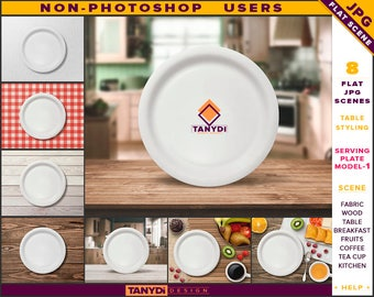 White Serving Plate   Table Styled JPG Scenes SP1-C1   Non-Photoshop   Fabric Bamboo Wood Table   Breakfast Fruits Cutlery   Coffee Cup