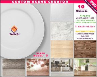 White Dinner Plate   Photoshop Print Mockup P3-1   Custom Scene Creator   Fabric Wood Table Kitchen Interior   Smart object Custom color