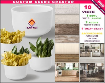White Bowl | Photoshop Print Mockup B3-0 | Custom Scene Creator | Yellow Green Salad | Fabric Wood Table | Smart object Custom color