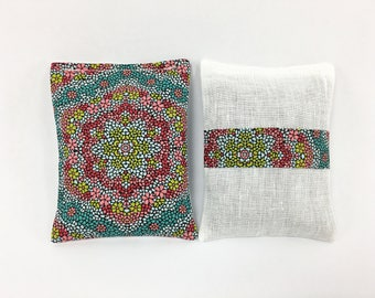 Linen Closet Lavender Sachets, Multi Colored, Dried Lavender, Mosaic Kaleidoscope