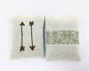 Embroidered Lavender Sachets, Natural, Browns, Greens, Linen Closet Sachet, Arrows