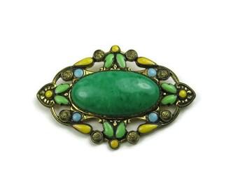 Green Art Deco Brooch